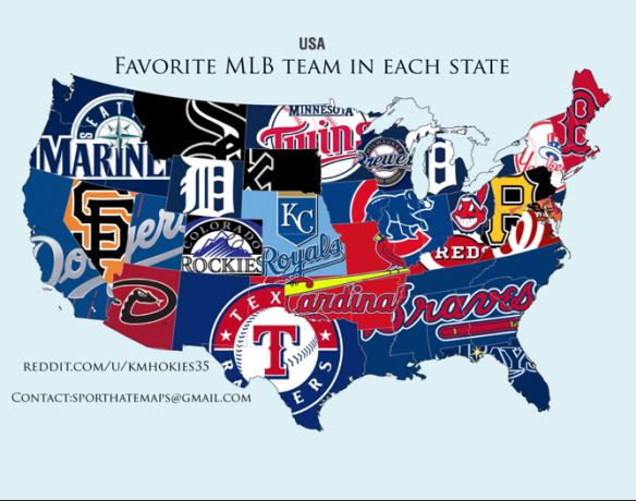 POTD: Each State's Favorite Baseball Team